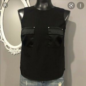 Whbm black sleeveless top